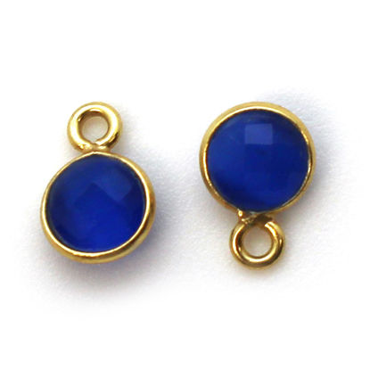 Bezel Gem Pendant-Gold Plated Sterling Silver-7mm Tiny Circle Shape- Blue Monalisa (sold per 2 pieces)