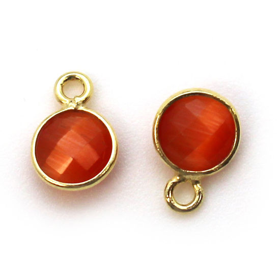 Bezel Gem Pendant-Gold Plated Sterling Silver-7mm Tiny Circle Shape - Orange Monalisa (sold per 2 pieces)