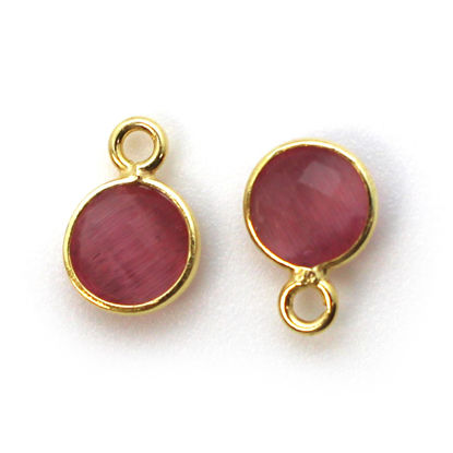 Bezel Gem Pendant-Gold Plated Sterling Silver-7mm Tiny Circle Shape - Pink Monalisa (sold per 2 pieces)