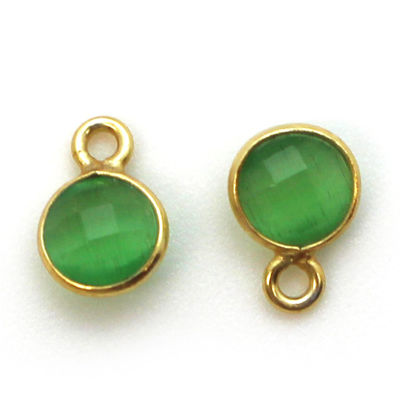 Bezel Gem Pendant-Gold Plated Sterling Silver-7mm Tiny Circle Shape - Green Monalisa (sold per 2 pieces)
