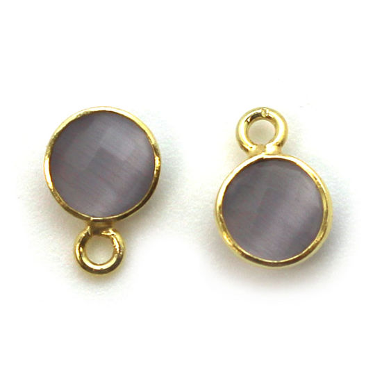Bezel Gem Pendant-Gold Plated Sterling Silver-7mm Tiny Circle Shape - Grey Monalisa (sold per 2 pieces)