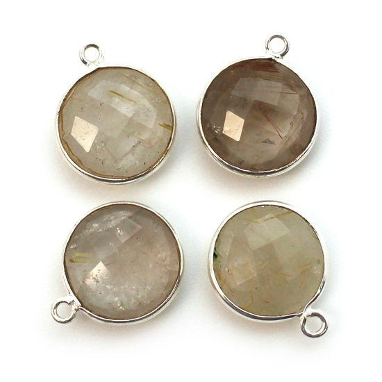 Bezel Gem Pendant - Sterling Silver - 14mm Faceted Coin - Gold Rutilated Quartz (sold per 2 pieces)