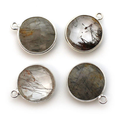 Bezel Gem Pendant-Sterling Silver-14mm Faceted Coin-Black Rutilated Quartz (sold per 2 pieces)