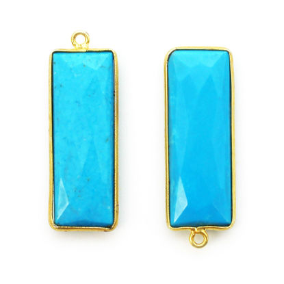 Bezel Charm Pendant-Gold Plated - Turquoise -Elongated Rectangle Shape-34 by 11mm  (Sold per 2 pieces)