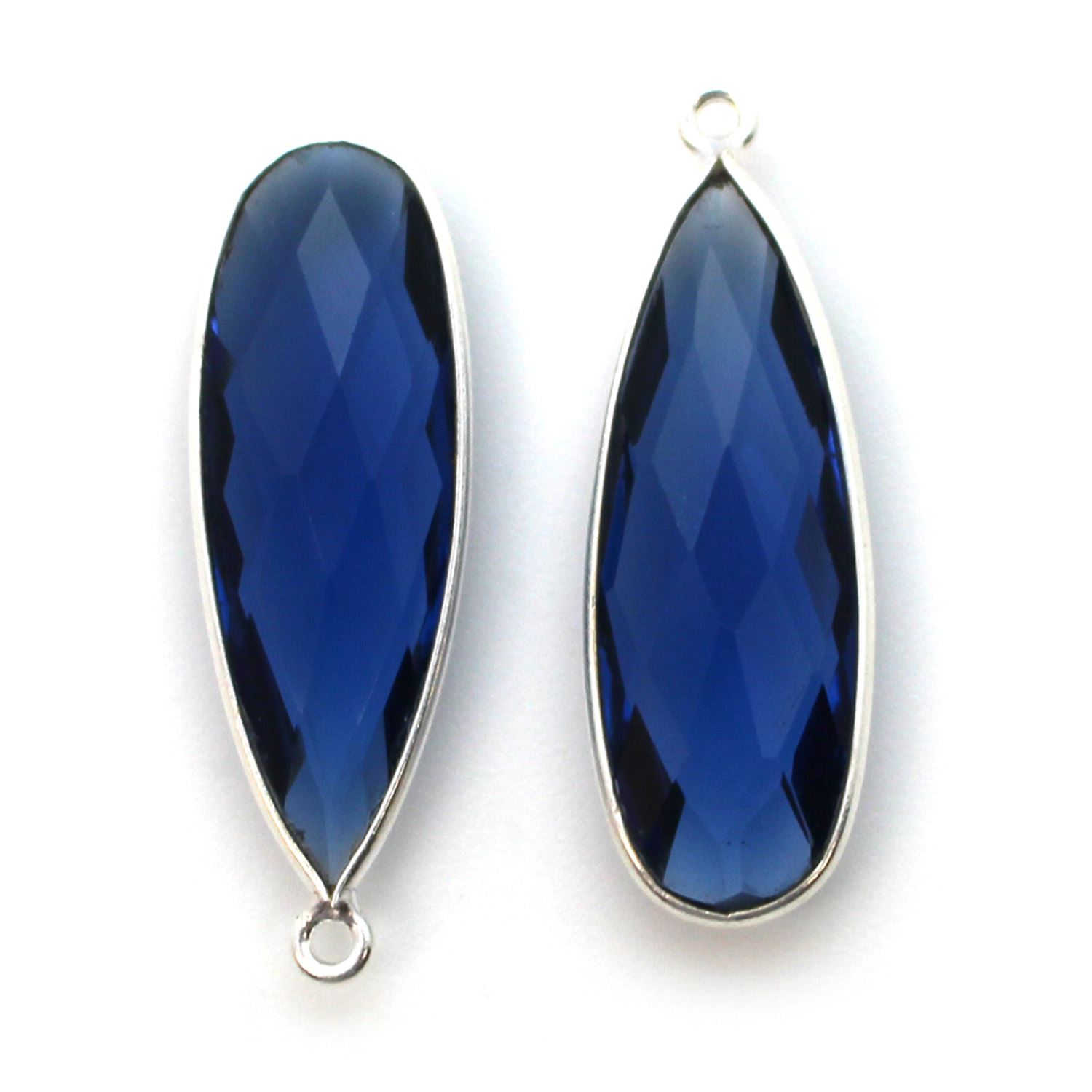 Bezel Charm Pendant -Sterling Silver Charm-Blue Iolite Quartz-Elongated Teardrop Shape -34 by 11mm  (sold per 2 pieces)