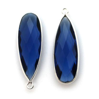 Bezel Charm Pendant -Sterling Silver Charm-Blue Iolite Quartz-Elongated Teardrop Shape -34 by 11mm  (sold per 2 pieces)