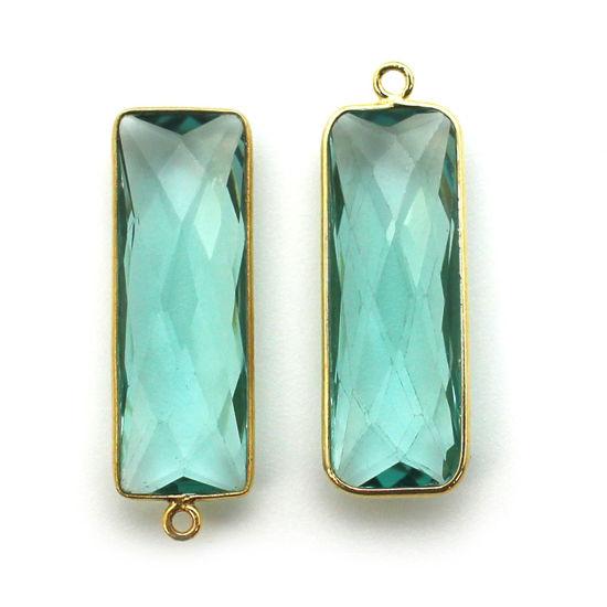 Bezel Charm Pendant-Vermeil Charm-Gold Plated - Aqua Quartz -Elongated Rectangle Shape-34 by 11mm (Sold per 2 pieces)