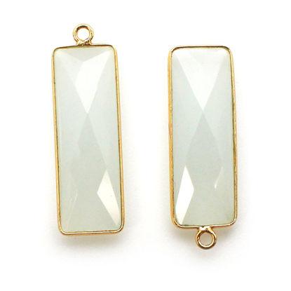 Bezel Charm Pendant-Vermeil Charm-Gold Plated -Aqua Chalcedony-Elongated Rectangle Shape-34 by 11mm  (Sold per 2 pieces)