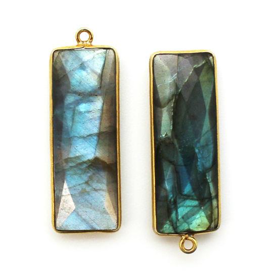 Bezel Charm Pendant-Vermeil Charm-Gold Plated -Labradorite -Elongated Rectangle Shape-34 by 11mm (Sold per 2 pieces)