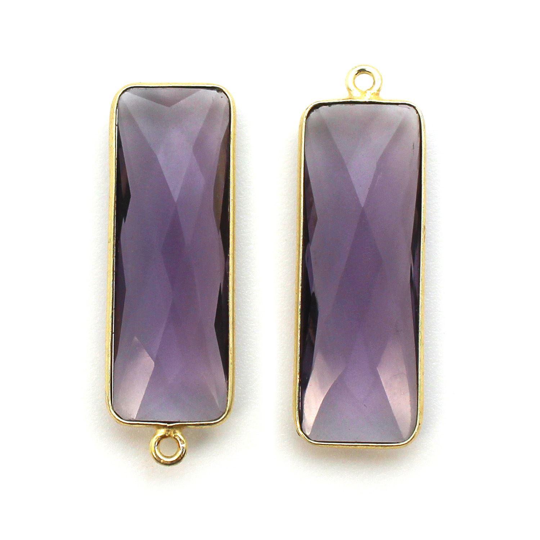 Bezel Charm Pendant-Vermeil Charm-Gold Plated-Amethyst Quartz-Elongated Rectangle Shape-34 by 11mm (Sold per 2 pieces)