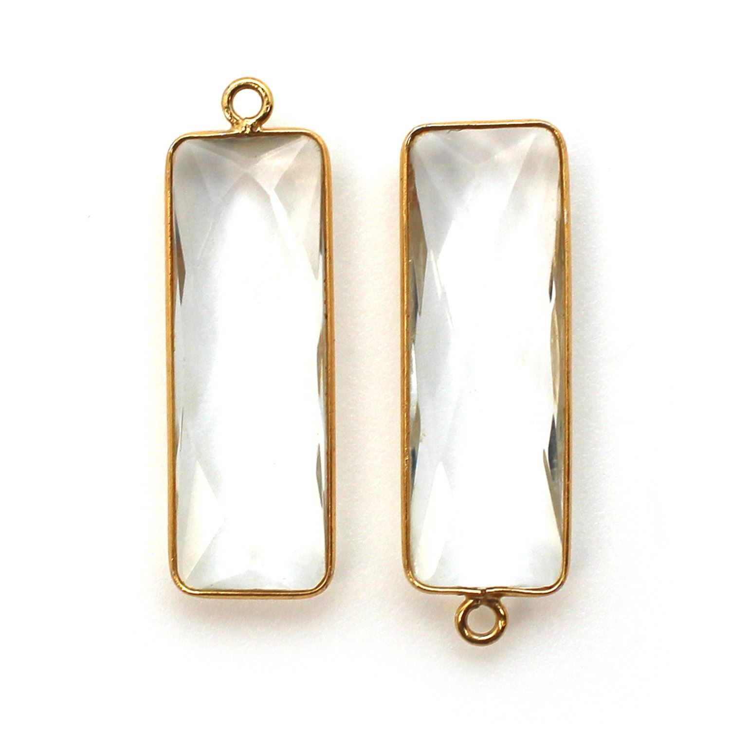 Bezel Charm Pendant-Vermeil Charm-Gold Plated -Elongated Rectangle Shape- Crystal Quartz - April Birthstone -34 by 11mm (Sold per 2 pieces)