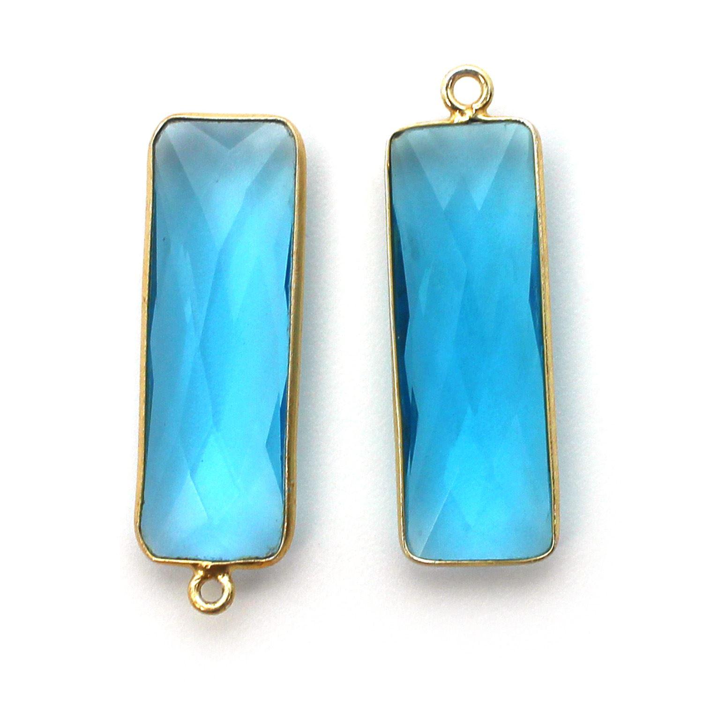 Bezel Charm Pendant-Vermeil Charm-Gold Plated-Blue Topaz Quartz-Elongated Rectangle Shape-34 by 11mm (Sold per 2 pieces)