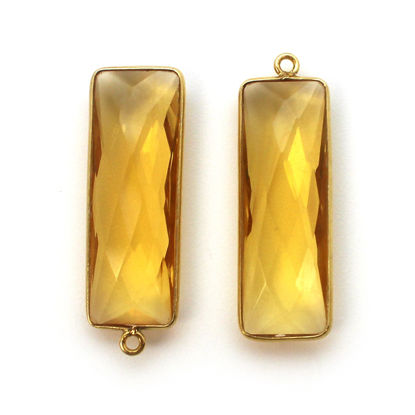 Bezel Charm Pendant-Vermeil Charm-Gold Plated-Citrine Quartz-Elongated Rectangle Shape-34 by 11mm (Sold per 2 pieces)