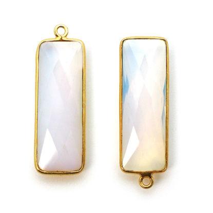 Bezel Gemstone Pendant - 22K Gold Plated Vermeil- 18mm Faceted Elongated Rectangle Shape-Bezel Gemstone-Bezel Charm -Opalite Quartz- October Birthstone 34 by 11mm (Sold per 2 pieces)