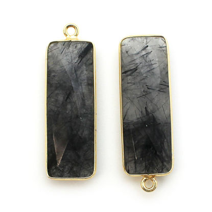 Bezel Charm Pendant-Vermeil Charm-Gold Plated-Black Rutilated-Elongated Rectangle Shape-34 by 11mm (Sold per 2 pieces)