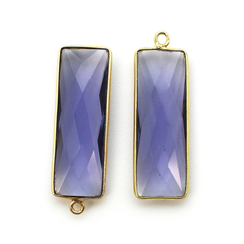 Bezel Charm Pendant-Vermeil Charm-Gold Plated-Iolite Quartz -Elongated Rectangle Shape-34 by 11mm (Sold per 2 pieces)