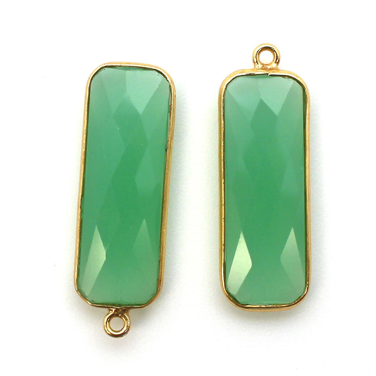 Bezel Charm Pendant-Vermeil Charm-Gold Plated -Prehnite Chalcedony-Elongated Rectangle-34 by 11mm  (Sold per 2 pieces)