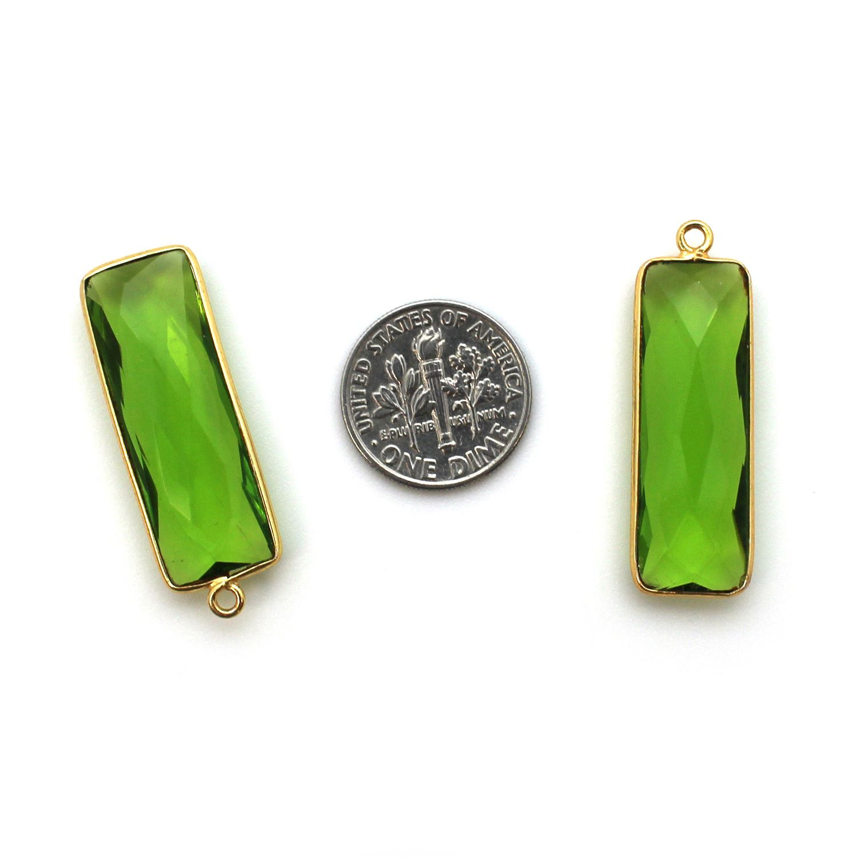 Bezel Gemstone Pendant - 22K Gold Plated Vermeil- 18mm Faceted Elongated Rectangle Shape-Bezel Gemstone-Bezel Charm -Peridot Quartz- August Birthstone 34 by 11mm (Sold per 2 pieces)