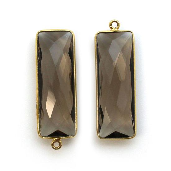 Bezel Charm Pendant-Vermeil Charm-Gold Plated-Smokey Quartz-Elongated Rectangle-34 by 11mm (Sold per 2 pieces)