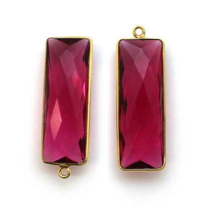 Bezel Charm Pendant-Vermeil Charm-Gold Plated -Rubellite Quartz-Elongated Rectangle-34 by 11mm (Sold per 2 pieces)