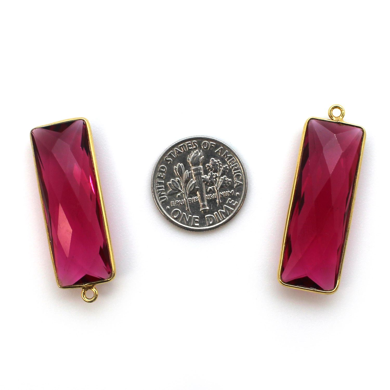 Bezel Charm Pendant-Vermeil Charm-Gold Plated -Rubellite Quartz-Elongated Rectangle-34 by 11mm (Sold per 2 pieces)