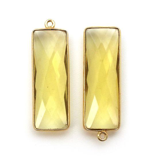 Bezel Charm Pendant-Vermeil Charm-Gold Plated-Lemon Quartz-Elongated Rectangle Shape-34 by 11mm (Sold per 2 pieces)