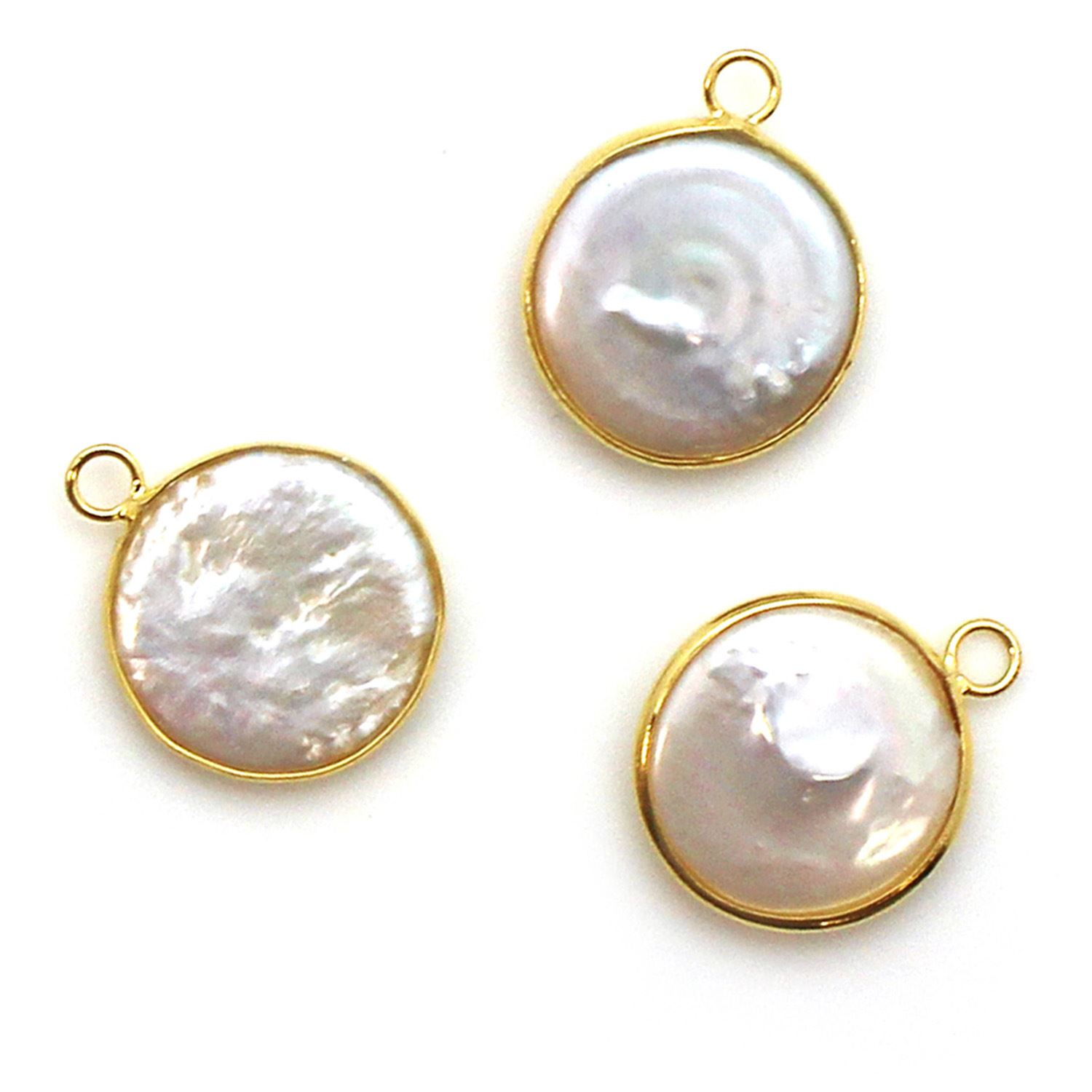 Bezel Gemstone Pendant - Gold plated Bezel- 16.5-17mm Smooth Coin Shape - White Freshwater Pearl Bezel (Sold per 1 piece)
