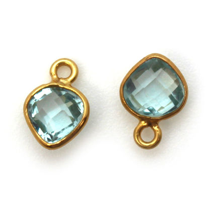 Bezel Gem Pendant-Gold Plated Sterling Silver- 10x7mm Tiny Heart Shape- Aqua Quartz (sold per 2 pieces)