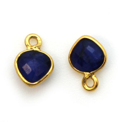 Bezel Gem Pendant-Gold Plated Sterling Silver- 10x7mm Tiny Heart Shape- Blue Sapphire Dyed (sold per 2 pieces)