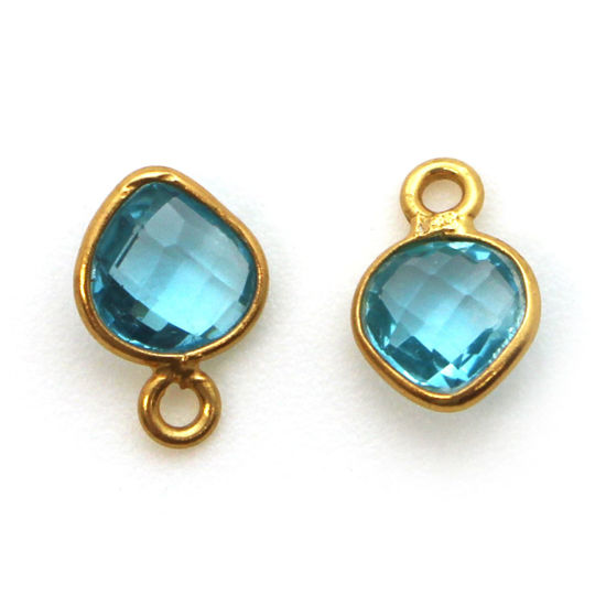 Bezel Gem Pendant-Gold Plated Sterling Silver- 10x7mm Tiny Heart Shape- Blue Topaz (sold per 2 pieces)
