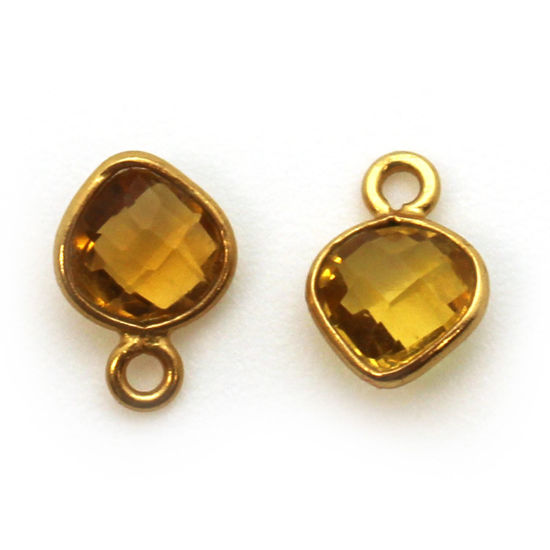 Bezel Gem Pendant-Gold Plated Sterling Silver- 10x7mm Tiny Heart Shape- Citrine (sold per 2 pieces)