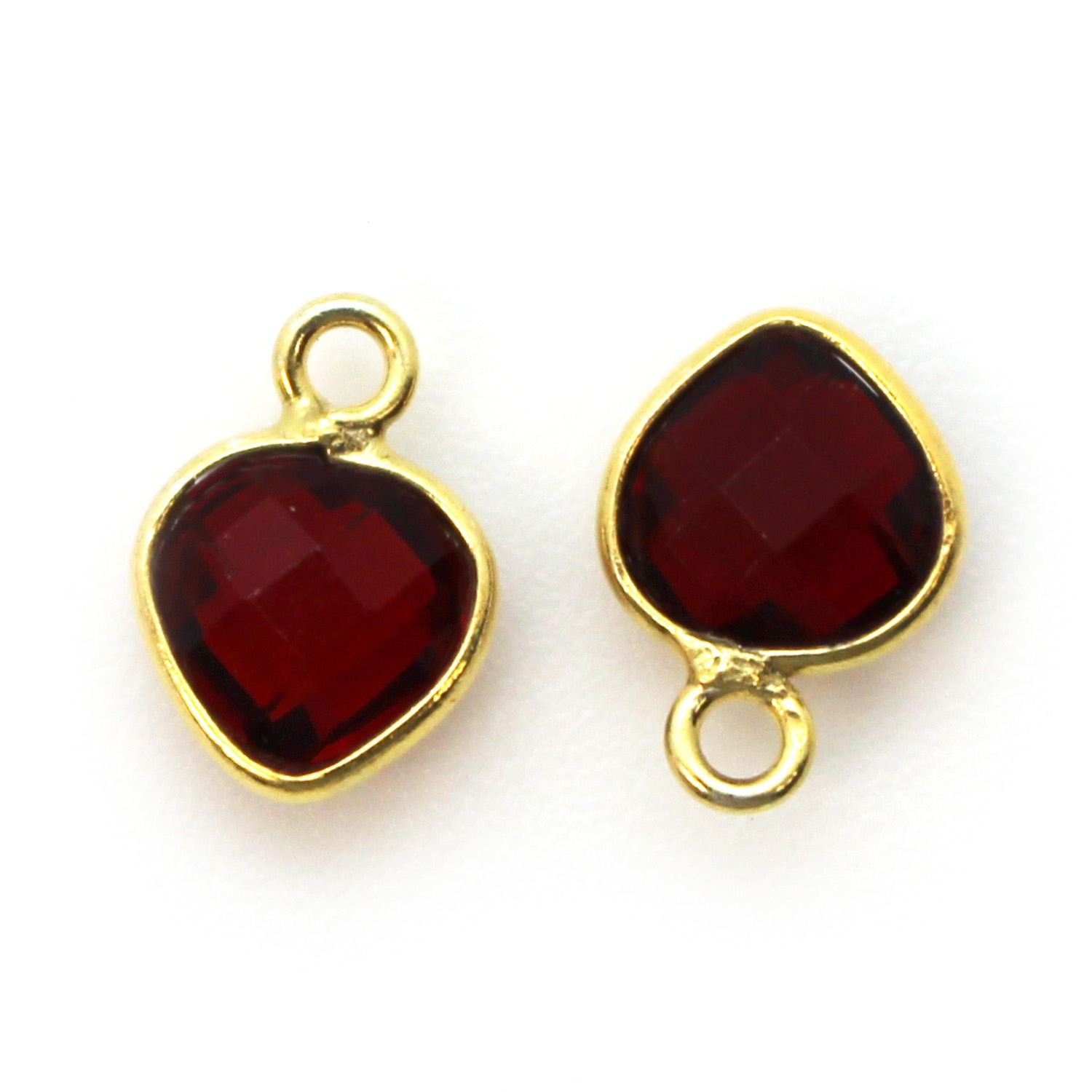 Bezel Gem Pendant-Gold Plated Sterling Silver- 10x7mm Tiny Heart Shape- Garnet (sold per 2 pieces)