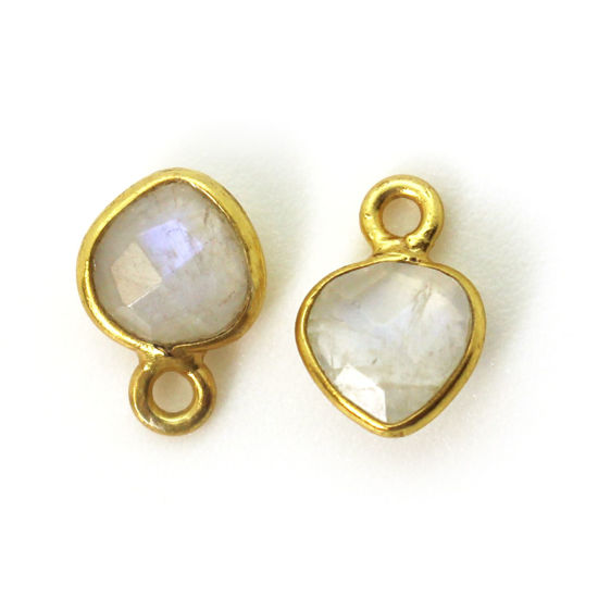 Bezel Gem Pendant-Gold Plated Sterling Silver- 10x7mm Tiny Heart Shape- Moonstone (sold per 2 pieces)