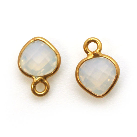 Bezel Gem Pendant-Gold Plated Sterling Silver- 10x7mm Tiny Heart Shape- Opalite (sold per 2 pieces)