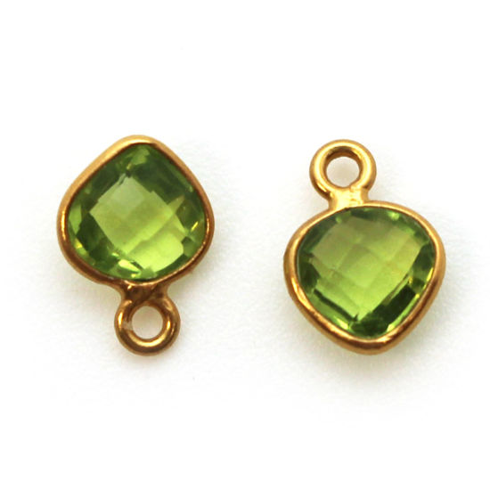 Bezel Gem Pendant-Gold Plated Sterling Silver- 10x7mm Tiny Heart Shape- Peridot (sold per 2 pieces)