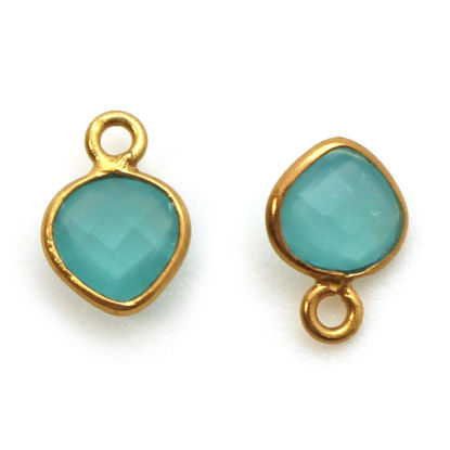 Bezel Gem Pendant-Gold Plated Sterling Silver- 10x7mm Tiny Heart Shape- Peru Chalcedony (sold per 2 pieces)