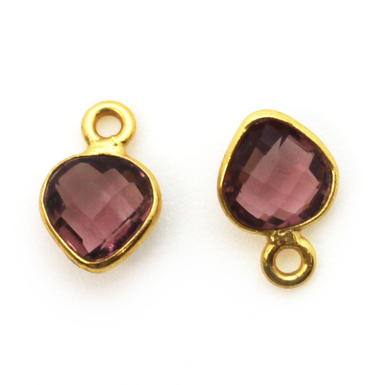 Bezel Gem Pendant-Gold Plated Sterling Silver- 10x7mm Tiny Heart Shape- Pink Amethyst Quartz (sold per 2 pieces)