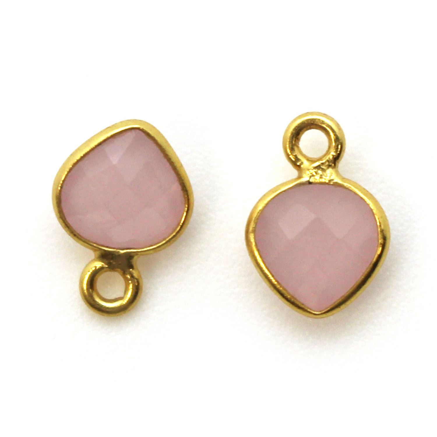 Bezel Gem Pendant-Gold Plated Sterling Silver- 10x7mm Tiny Heart Shape- Pink Chalcedony (sold per 2 pieces)