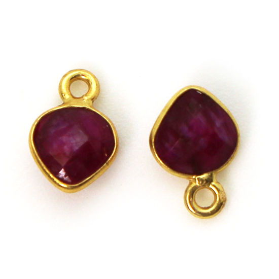 Bezel Gem Pendant-Gold Plated Sterling Silver- 10x7mm Tiny Heart Shape- Ruby Dyed (sold per 2 pieces)