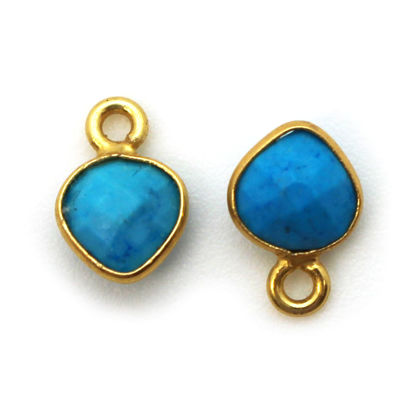 Bezel Gem Pendant-Gold Plated Sterling Silver- 10x7mm Tiny Heart Shape- Turquoise (sold per 2 pieces)