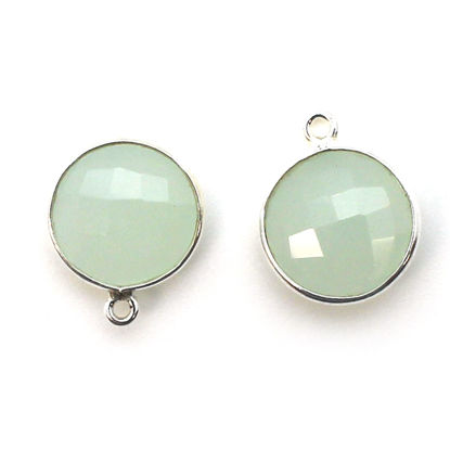 Bezel Gem Pendant-Sterling Silver-14mm Faceted Coin- Aqua Chalcedony (sold per 2 pieces)