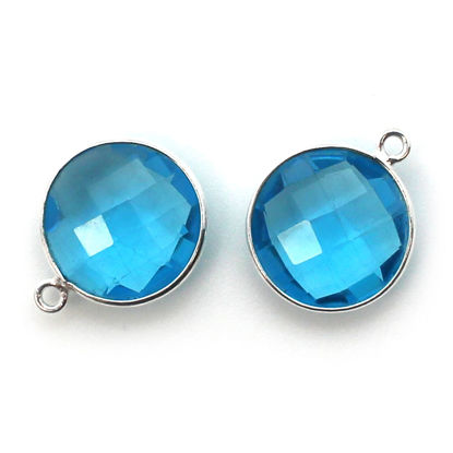 Bezel Gem Pendant - Sterling Silver - 14mm Faceted Coin - Blue Topaz (sold per 2 pieces)