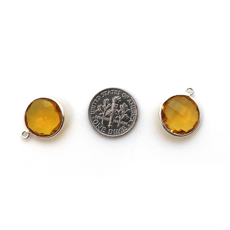 Bezel Gem Pendant - Sterling Silver - 14mm Faceted Coin - Citrine Quartz (sold per 2 pieces)