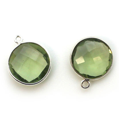 Bezel Gem Pendant - Sterling Silver - 14mm Faceted Coin - Green Amethyst Quartz (sold per 2 pieces)