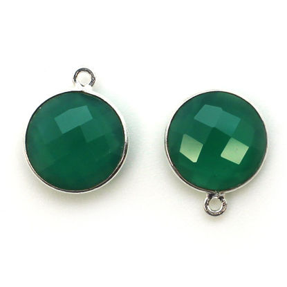 Bezel Gem Pendant - Sterling Silver - 14mm Faceted Coin - Green Onyx (sold per 2 pieces)