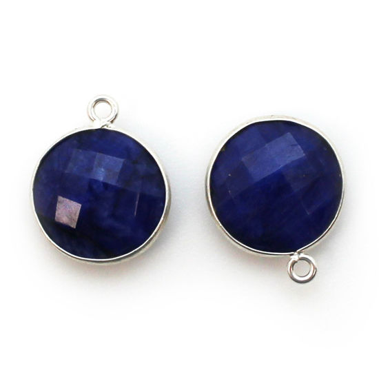 Bezel Gem Pendant - Sterling Silver - 14mm Faceted Coin - Blue Sapphire Dyed - September Birthstone (sold per 2 pieces)