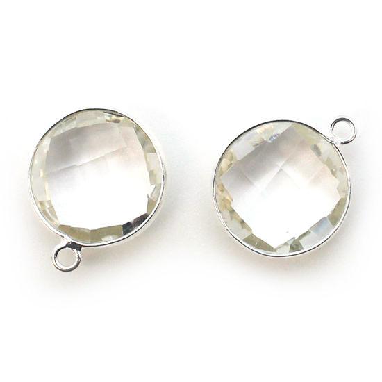 Bezel Gem Pendant - Sterling Silver - 14mm Faceted Coin - Crystal Quartz -April Birthstone (sold per 2 pieces)