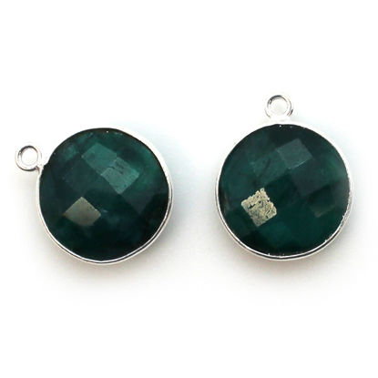 Bezel Gem Pendant - Sterling Silver - 14mm Faceted Coin - Emerald Dyed- May Birthstone (sold per 2 pieces)