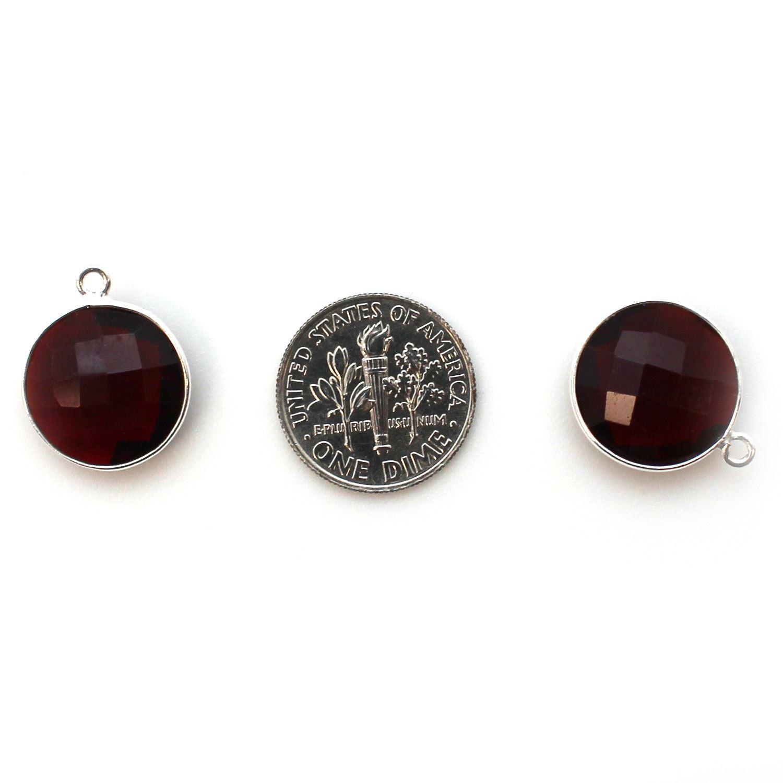Bezel Gem Pendant - Sterling Silver - 14mm Faceted Coin - Garnet Quartz- January Birthstone (sold per 2 pieces)