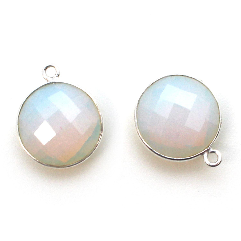 Bezel Gem Pendant - Sterling Silver - 14mm Faceted Coin - Opalite Quartz- October Birthstone (sold per 2 pieces)